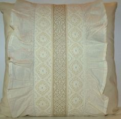 Vintage French Cream Frilled Embroidered Braid Coussin Cushion Pillow ~ Free Shipping £22
