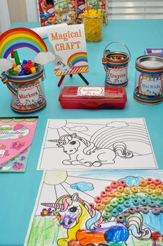 Coloring pages.... maybe add a craft aspect like the Fruit Loops pictured.