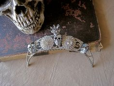 Dia De Los Muertos Skulls and Rhinestone Crown by MorticiaSnow, $168.00