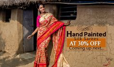 Exclusive #HandPaintedSarees coming up today at 30% OFF! #Comingsoon #Onlineshopping