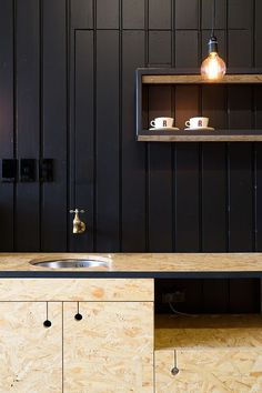 custom-built in osb Kitchen Door Designs, Kitchen Doors, Modern Kitchen Design, Küchen Design, Design Case, Design Ideas, Kitchen Interior, Interior And Exterior, Red Architecture