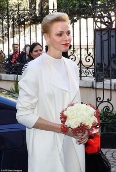 Princess Charlene of Monaco arrived at the Red Cross headquarters in Monaco before giving parcels to Monaco's residents during the annual charity ceremony