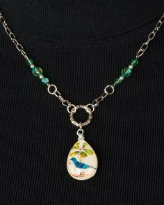 Bird Lovers Nature Lovers Glass Bird Pendant by SuzetteGaleJewelry