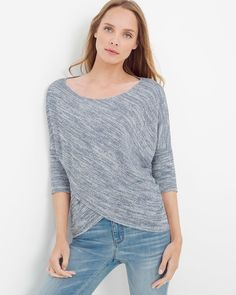 "Meet the next-level sweatshirt. A sumptuously soft, asymmetrical silhouette with just a hint of shimmer makes an otherwise casual style elevate your favorite pair of jeans and flats.  Asymmetrical sparkle knit sweater Three-quarter sleeves; slight high-low hem  Silvertone metallic thread  Regular: Approx. 22 1/2"" from shoulder Petite: Approx. 21 1/2"" from shoulder Polyester/rayon/metallic. Machine wash cold.  Imported"