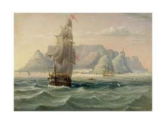English School: Table Mountain, Cape Town, from the Sea, Kunstdruck Table Mountain Cape Town, School Tables, African History, Old Master, Art Reproductions, Find Art, Framed Artwork, Sailing Ships, Giclee Print