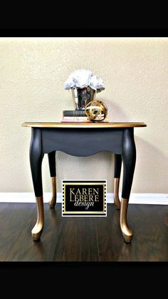 Karen LeBere Design Black Gold Nightstand/Side Table/End Table Crisp and distinctive this Black and gold dipped feet. Chic Home Decorative Furniture Gold Leaf Furniture, Diy Furniture Table, Western Furniture, Refurbished Furniture, Paint Furniture, Repurposed Furniture, Furniture Projects, Furniture Makeover, Bedroom Furniture