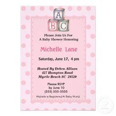 ABC Blocks for Baby Shower | Baby Blocks Girl Shower Invitation from Zazzle.com