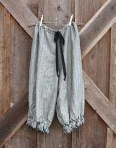 linen bloomer knicker britches girlie pantaloon  in blue stripe boho gypsy. $120.00, via Etsy.