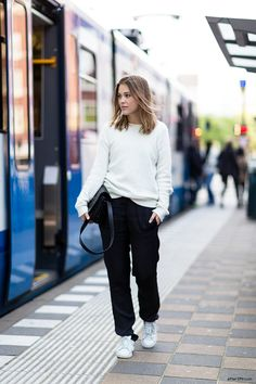 After Drk Is Wearing Jumper From H&M, Silk Trousers From Isabel Marant, Shoes From Adidas And Bag From Kenzo