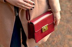 Burgundy box handbag