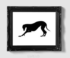 Greyhound Silhouette - Hand-cut Original Dog Art Mounted on Watercolor Paper