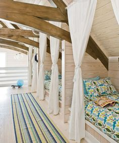 House of Turquoise: Tracery Interiors bunk room millwork Bunk Rooms, Attic Rooms, Bunk Beds, Loft Beds, Attic Bathroom, Attic Loft, Twin Beds, Attic Bed, Attic Office