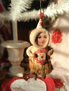 Victorian Valentine Girl~Spun Cotton Batting by Arbutus Hunter