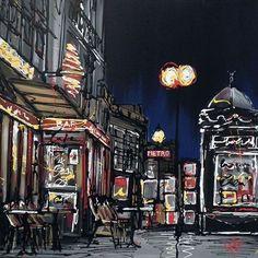 Paris Nights *Original* by Paul Kenton Paul Kenton, Paris At Night, Urban Landscape, Illustration Art, Illustrations, Architecture Details, Cartoon Art, Art Pictures, Photo Art