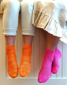 """Vintage knitting patterns are filled with mesh stockings, lace """"evening   gloves"""" and form fitting sweater sets. As life as gotten more and more  hectic,  knitting needles have gotten bigger and bigger, and hand knits  have  gotten, well, bulkier and bulkier. Occasional lumpiness has its  charm,  but do we really want to be less sassy than our Victorian  ancestors? Here  is a pattern that will never be accused of frumpiness,  but which takes into  account our very busy lives: quick to make but not  at an unflattering two stitches to the inch!  It seemed like a pair of Fishnet Anklets called for something beyond  traditional  sock wool, so I made these with Koigu's  very special Mori yarn. Spun and dyed like the Koigu Premium Merino that we all love,  the Mori is 50% merino and  50% mulberry silk. The shine and luxury of the silk are just what these  socks needed!"""
