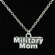 """Women's """"Military Mom"""" Words Pendant Chunky 18"""" Necklace By GLOWCAT"""