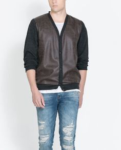 CARDIGAN WITH FAUX LEATHER FRONT | Zara