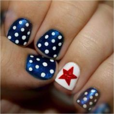 4th July nail art  White nails, red polka dots then blue accent nail with white star
