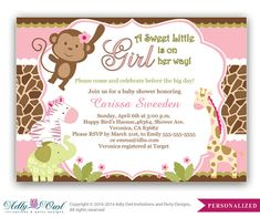 Girl Monkey Jungle Safari Invitation, Jungle Girl Baby Shower Card for a baby shower.Monkey in Jungle,palm, bow,chevron,printable-oz28bs