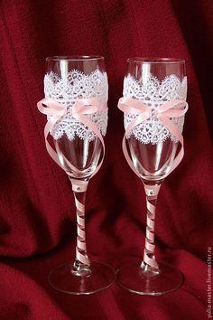 Купить Свадебные бокалы Ажурные мечты - свадебные бокалы, свадебные аксессуары, бокалы для свадьбы