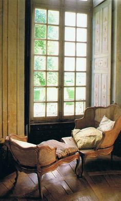 A Duchesse Brisee tucked into a window recess, French Chateau de-nicolay-mazery French Chateau, French Furniture, Cane Furniture, French Country Style, Take A Seat, French Decor, Windows And Doors, Tall Windows, Casement Windows
