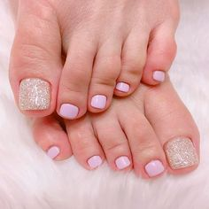 Gel Pedicure Designs Simple Ideas For 2019 Baby Pink Nails With Glitter, Pink Toe Nails, Pretty Toe Nails, Toe Nail Color, Cute Toe Nails, Summer Toe Nails, Feet Nails, Toe Nail Art, My Nails