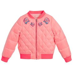 Perfect for girly girls who love pink, this silky Billieblush padded bomber jacket has a lustrous sheen with embroidered rose badges around the neckline. The neon pink trims will make her stand out from the crowd even more and the quilting will keep her as warm as toast.