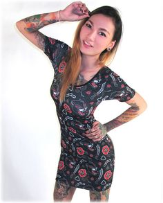 Liquor Brand Damen PANTHER Kleid.Oldschool,Tattoo,Pin up,Rockabilly,Custom Style