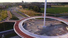 """""""Městský okruh"""" pro cyklisty a pěší v Eindhovenu."""
