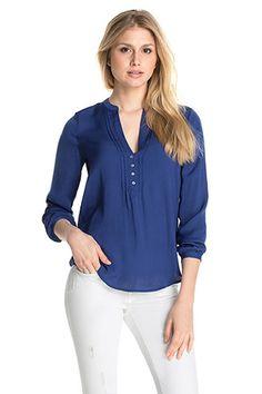 Esprit - Fließende Hemdbluse mit Biesen im Online Shop kaufen