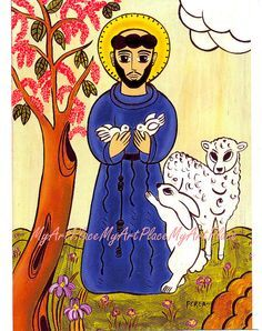 pictures of st francis with animals | Postcards, Prints, St. Francis, Patron Saint of Animals, New Mexico ...