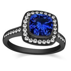 14K Black Gold 1.80 CT Cushion Cut Blue Sapphire Engagement or Wedding ring
