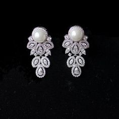 This umbrella shape cubic zirconia floral drop wedding earrings are stunning, swinging when move, this crystal earrings perfect as prom and bridal jewelry Pearl Earrings Wedding, Bridal Earrings, Bridal Jewellery, Crystal Earrings, Belle Bridal, Bridal Accessories, Jewelry Accessories, Bridesmaid Jewelry, Bridesmaids