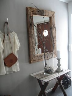 A smaller sized DIY raw wood mirror. Have boards cut to size at the big box hardwood store, purchase the mirror and then 'age' the wood and frame. Home Decoracion, Wood Mirror, Pallet Mirror, Hallway Mirror, Hallway Bench, Mirror Mirror, Wood Pallets, Pallet Wood, Barn Wood