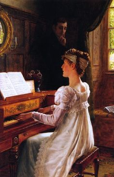 """""""Courtship by the Piano"""".  (by Edmund Blair Leighton)."""