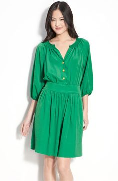 Eliza J Crepe de Chine Shirt Dress