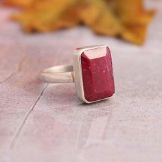 Genuine Ruby ring  Gemstone ring  Bezel ring  by Studio1980, $195.00