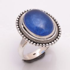 925 Sterling Silver Ring US Size 10, Natural Blue Jade Gemstone Jewelry R1949 #Handmade #Fashion