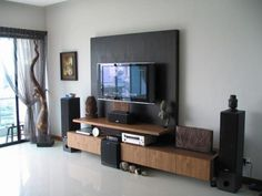 Chic and Modern TV wall mount ideas. - Since many people including your family enjoy watching TV, you need to consider the best place to install it. Here are 15 best TV wall mount ideas for any place including your living room. Tv Wall Mount Designs, Diy Tv Wall Mount, Hanging Tv On Wall, Wall Mounted Tv, Mount Tv, Hanging Cabinet, Wall Tv, Small Living Room Ideas With Tv, Small Living Rooms