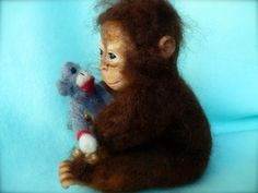 Chimp Chimpanzee Orangutang Monkey Ape OOAK Art Doll by grannancan