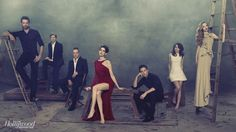 The director+cast of the 2012 big screen adaptation of the musical Les Miserables posed for the cover of Hollywood Reporter (Left to right): Hugh Jackman (Valjean), Tom Hooper (Director) Russell Crowe, Anne Hathaway (Fantine), Eddie Redmayne (Marius), Samantha Barks (Eponine) and Amanda Seyfried (Cosette).   Eddie, your killing me over here....