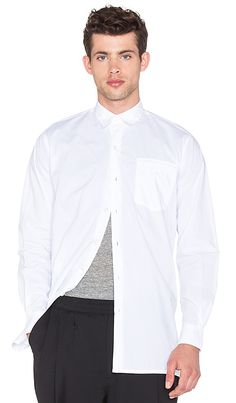 Our Legacy Shirt Coat Poplin in White | REVOLVE