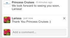 Awww Thank You Princess Cruises!!! We Are So Excited For Our Alaska Cruise!!