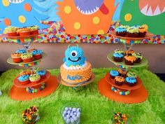 Monster Party DIY cake/cupcake stand from dollar store
