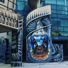 """behind_streetart: """"This is epic. We love the integrated spiral staircase.  streetartist : WD aka Wild Drawing #streetart title : Hominoidea where : #Athena #Greece created : #2015  who is the #global #artist: WD aka Wild Drawing was born in #Bali #Indonesia and has degrees in Fine Arts and in Applied Arts. He started off as street artist in 2000. Currently he lives and works in #Athens #Greece where a lot of his work can be found. He has also created in #France #Germany #Sweden and #Malta…"""