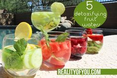 I like starting my day off with a detoxifying fruit water because it's a delicious way to cleanse your system. By allowing the fruit to soak in your water overnight in your fridge, your water becomes infused with nutrients and flavor of the fruit. I've assembled five of the best of the best detox waters that contain anti-aging properties and help flush toxins from your body.