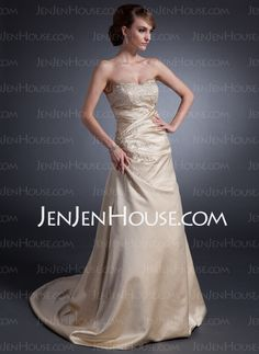 Wedding Dresses - $166.99 - A-Line/Princess Sweetheart Chapel Train Satin Wedding Dresses With Ruffle Beadwork (002015130) http://jenjenhouse.com/A-line-Princess-Sweetheart-Chapel-Train-Satin-Wedding-Dresses-With-Ruffle-Beadwork-002015130-g15130