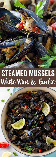Steamed mussels with white wine and garlic is an easy one-pot meal ready in 20 minutes! Aromatic vegetables are cooked with fresh mussels for a light appetizer or meal. via (Steamed Vegetable Recipes) Light Recipes, Wine Recipes, Cooking Recipes, Steam Recipes, Gourmet Cooking, Healthy Recipes, Muscles Recipe White Wine, Seafood Dishes, Seafood Recipes