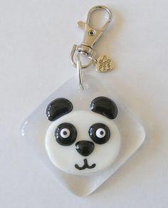 1 Handmade fused Glass Panda Handbag Keyring Charm by Jewlls4u