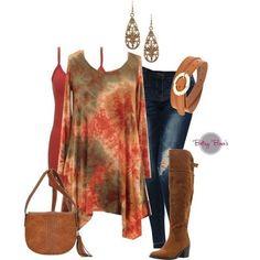 (pre-order) Set 110: Rust Tie Dye Tunic Set (includes top, tank & earrings)